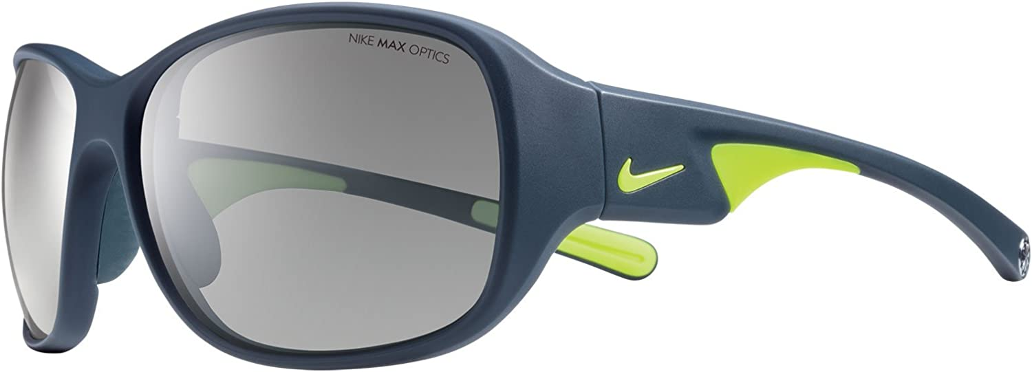 Nike EV0765-007 Exhale Sunglasses One Size , Matte Dark Magnet Grey Volt, Grey with Silver Flash Lens
