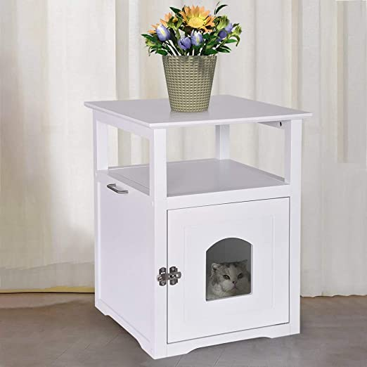 Nightstand Pet Crate White Best Decorative Cat House and Side Table Cat Litter Box Furniture Enclosure