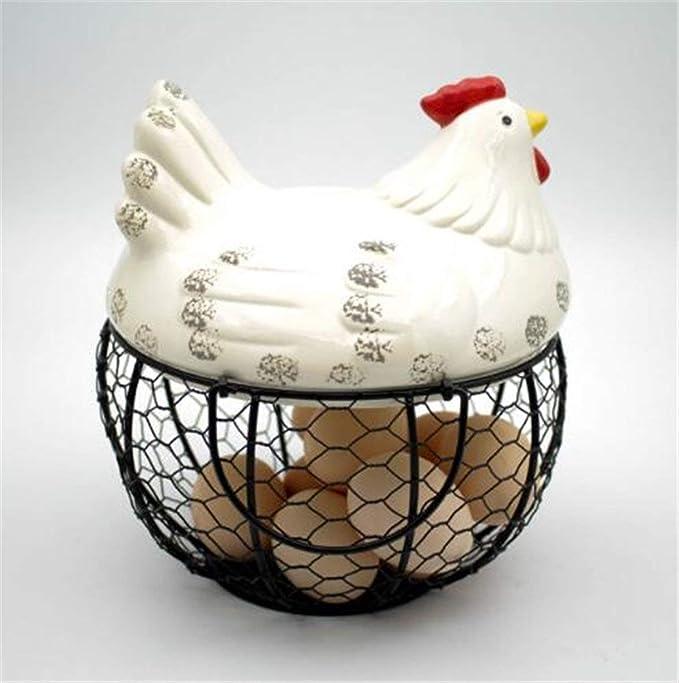 cestino per uova portauova da cucina Cesto portaoggetti in ceramica a forma di pollo per uova da 15 a 25 uova contenitore per cestini per uova