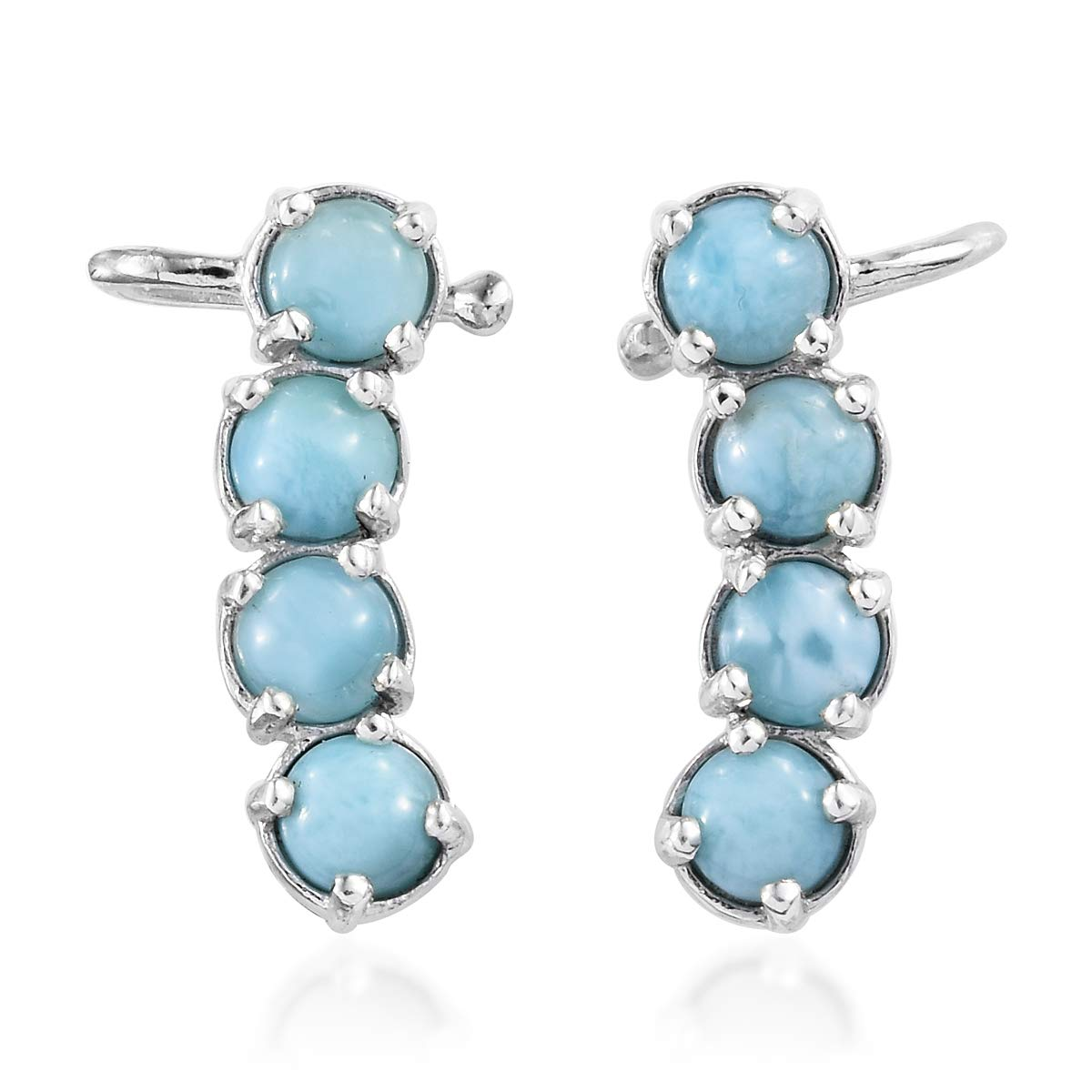 925 Sterling Silver Platinum Plated Larimar Blue Ear Cuff Wrap Crawler Climber Earrings for Women
