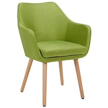 Silla de Comedor de Tela (Lino) o de Cuero sintético diseño Retro Verde sillón con Brazos Silla tapizada Vintage con Patas de Madera seleccion de ...