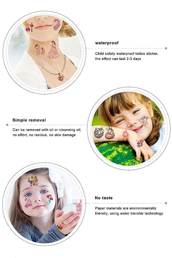 Qemsele Tatuajes Temporales Para Niños Niñas, 20 Sheets 200+ Pcs ...