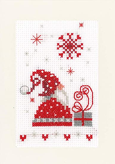 Christmas Gnomes- Xmas Cards PN-0165989 Counted Cross Stitch Kit Vervaco