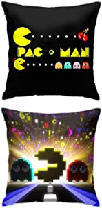 Pacman Throw Pillow Covers Set Cushion Case for Sofa Bedroom Car and Home Decor 18 X 18 Inch 2pcs