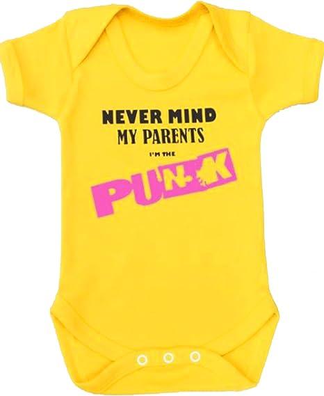 Body para bebé de BABY MOOS, con diseño «Never Mind Punk» en inglés, ideal para regalo amarillo amarillo Talla:0-3 Meses: Amazon.es: Bebé