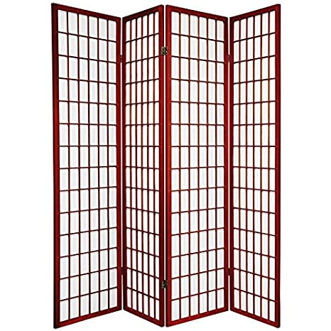 Oriental Furniture Asian Decor 6-Feet Window Pane Japanese Shoji Privacy Screen Divider, 3 Panel Rosewood SSCWP-3_Panel-Rosewood