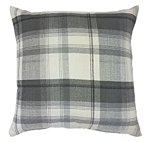 "FILLED WOVEN PLAID TARTAN CHECK GREY CREAM BLACK 24"" - 60CM CUSHION PILLOW CASE SHAM"