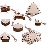 Sinto 30pz Ornamenti albero di Natale Natale fiocco di neve pendenti Natale ornamenti albero partito decorazione stella alce pupazzo di neve calzino Albero con Corda Stile casuale (A)