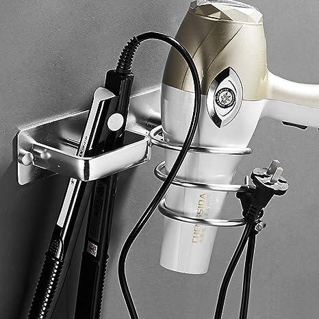 soporte para secador de pelo accesorio para el cuarto de ba/ño de casa autoadhesivo ButyYI Soporte de metal para secador de pelo