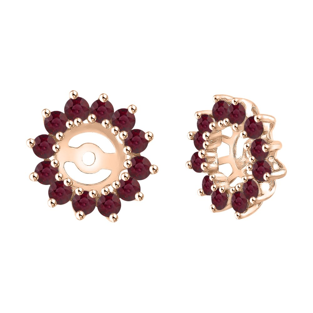 Ruby and Diamond Earring Jackets in 14K Rose Gold (1/2 cttw) (Color JK, Clarity I2-I3) by KATARINA