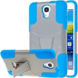 Samsung Galaxy Mega 2 Case, MPERO IMPACT X Series Dual Layered Tough Durable Shock Absorbing Silicone Polycarbonate Hybrid Kickstand Case for Galaxy Mega 2 [Perfect Fit & Precise Port Cut Outs] - Blue / Gray