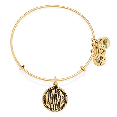 e57857be7b9e7a Amazon.com: Alex and Ani Open Love Charm Bangle Rafaelian Gold Finish  Bracelet, A14EB71RG: Jewelry