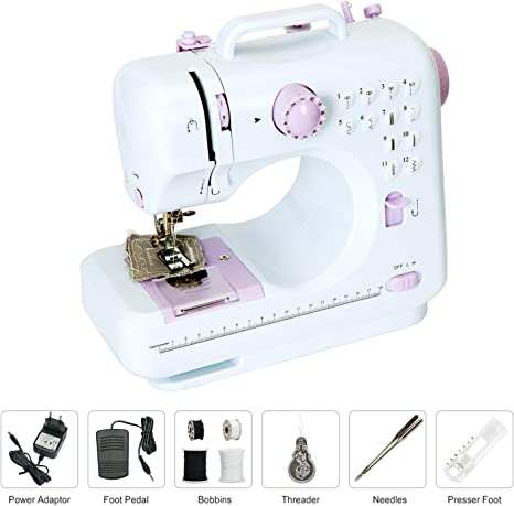 Beginner Sewing Machine,Portable Sewing Machine Basic Easy to Use for Adults and Kids,12 Built-in Stitches 2 Speeds Double Multifunction Electric Handheld Mini Sewing Machine with Foot Pedal