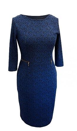 new arrival edcc4 3d890 Elegantes Kleid mit einem kornblumenblauen Muster - Bleistiftkleid Gr 40 42  44 46 48 50 52 54 auch große Größen