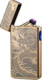 lcfun Dual Arc Plasma Lighter USB Rechargeable Windproof Flameless Butane Free