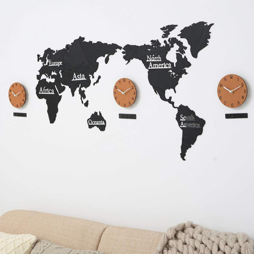 zenggp World Map Wall Clock Wooden Wall Charts Wall Hangings For Living Room/office,A+1.37M zenggp Home Manufacturers