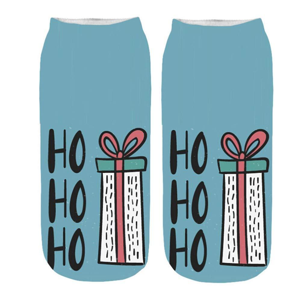 MuSheng(TM))) Femmes Chaussettes de Noël 3D Bande Dessinée Drôle Noël Crazy Cute Incroyable Nouveauté Imprimé Chaussettes À La Cheville Chaussettes