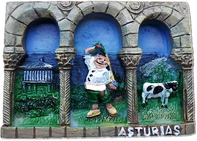 Weekinglo Souvenir Imán de Nevera Asturias España 3D Resina Artesanía Hecha A Mano Turista Viaje Ciudad Recuerdo Colección Carta Refrigerador Etiqueta: Amazon.es: Hogar