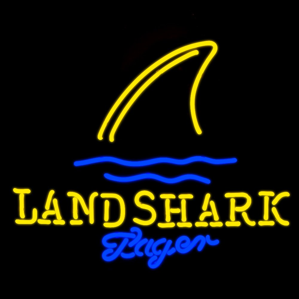 Yellow Land Shark Real Glass Beer Bar Neon Light Sign 19x15!!! by Best Music Posters
