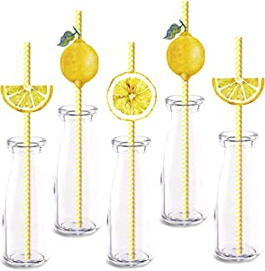 Lemon fruit Party Straw Decor, 24-Pack Yellow Lemon Summer Birthday Party Supply Decorations, Paper Decorative Straws