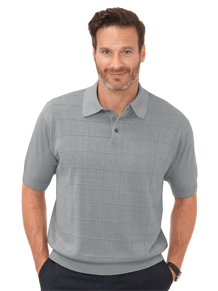 Paul Fredrick Men's Silk Grid Polo Collar Sweater Grey 2XL