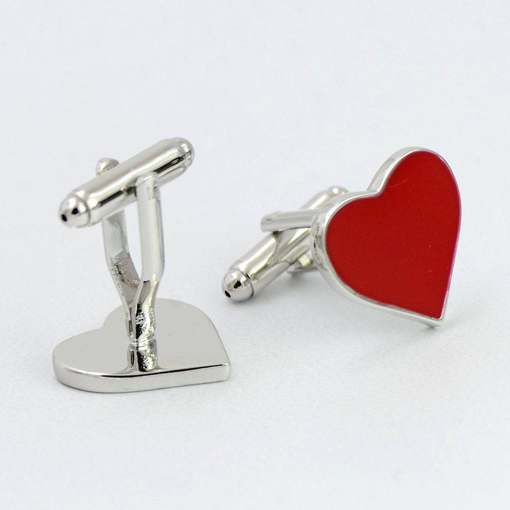 ENVIDIA Red Heart-Shaped Valentine Love Cufflinks Wedding Party Gifts With Box by ENVIDIA (Image #6)