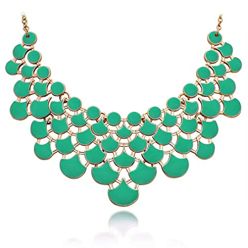 1c579764f9a JANE STONE Necklace Magnetic Scaly Mint Jewelery Vintage Openwork Bib  Statement Fall Wedding Necklace(Fn0968