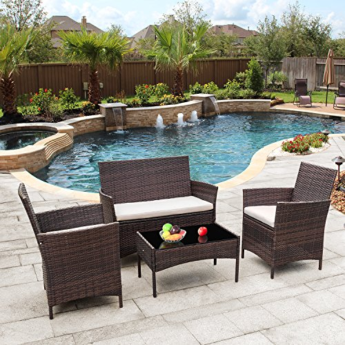 Flamaker Outdoor Furniture Patio Set Cushioned PE Wicker Rattan Chairs with Coffee Table 4 PCS for Garden Poolside Porch Backyard Lawn Balcony Use (Brown)
