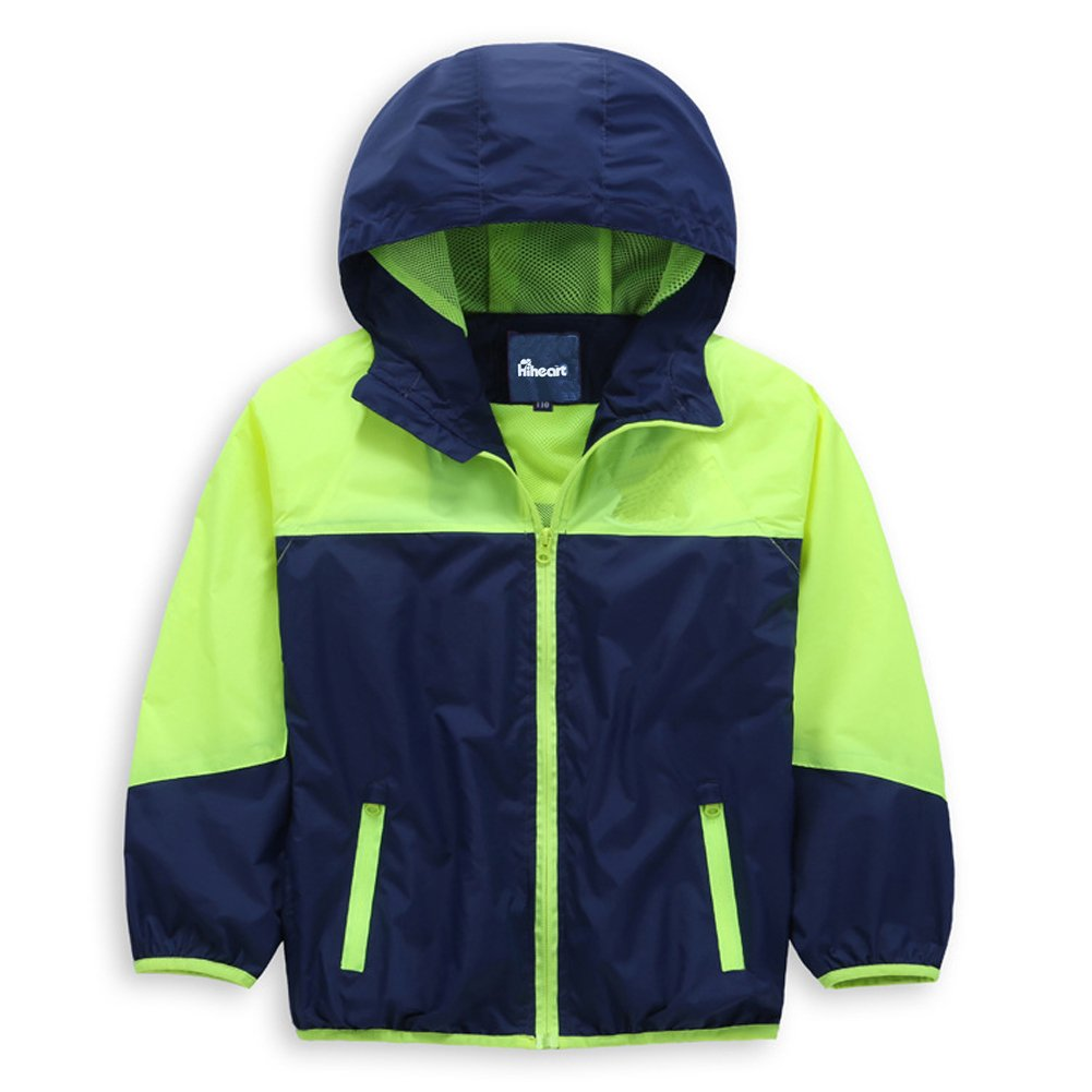 Hiheart Boys' Hooded Lightweight Jacket Quick Dry Windproof Skin Coat Green 5/6
