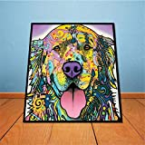BFY Modern Huge Wall Art Oil Painting On Canvas Golden Retriever Unframed Room Decor