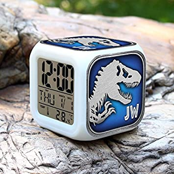 JW Jurassic Park noche colorida ligero toque alarma reloj relojes despertadores , 3#: Amazon.es: Juguetes y juegos