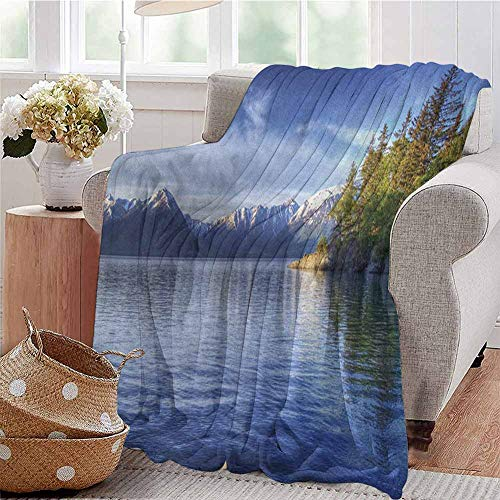 Luoiaax Alaska Comfortable Large Blanket Turnagain Arm of The Cook Inlet Anchorage Idyllic Lakeside Photography Microfiber Blanket Bed Sofa or Travel W60 x L50 Inch Lime Green Navy Blue