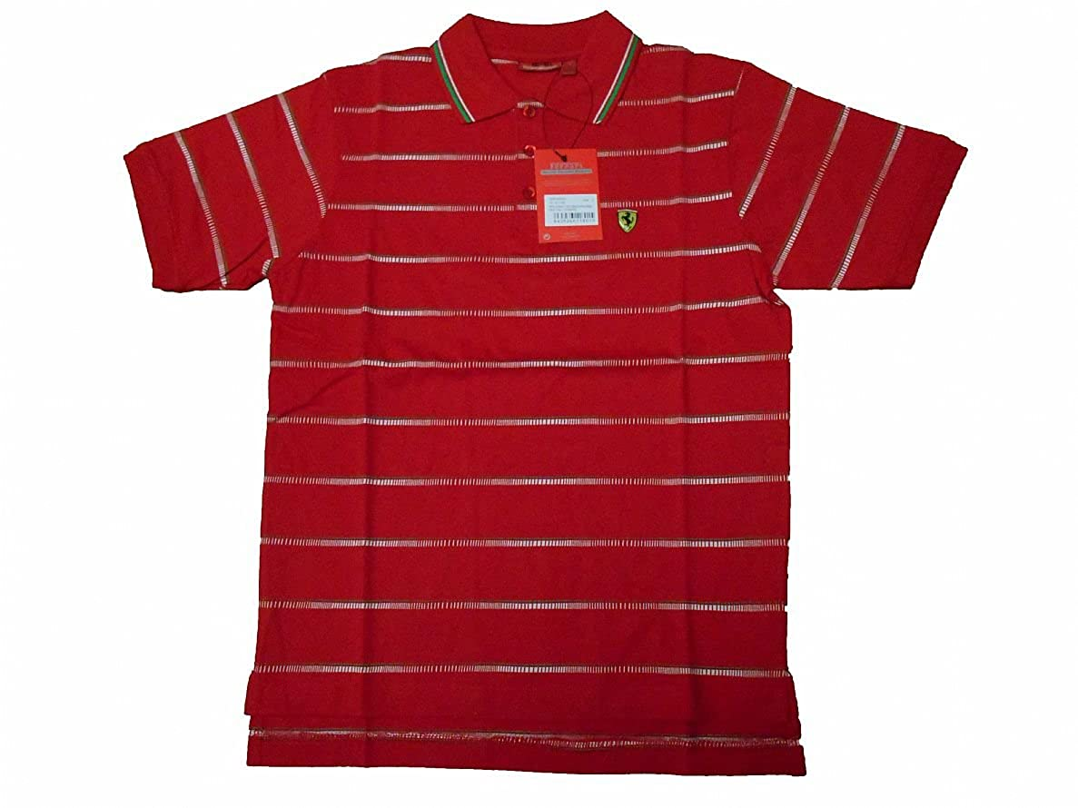 8e4768cf4f Ferrari Mens Polo Shirt Red Striped sz Small to fit Chest 35