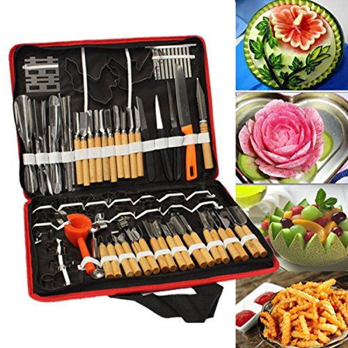 CycleMore 80pcs/Set Portable Wood Box Vegetable Fruit Food Peeling Carving Tools Kit With Bag Pack