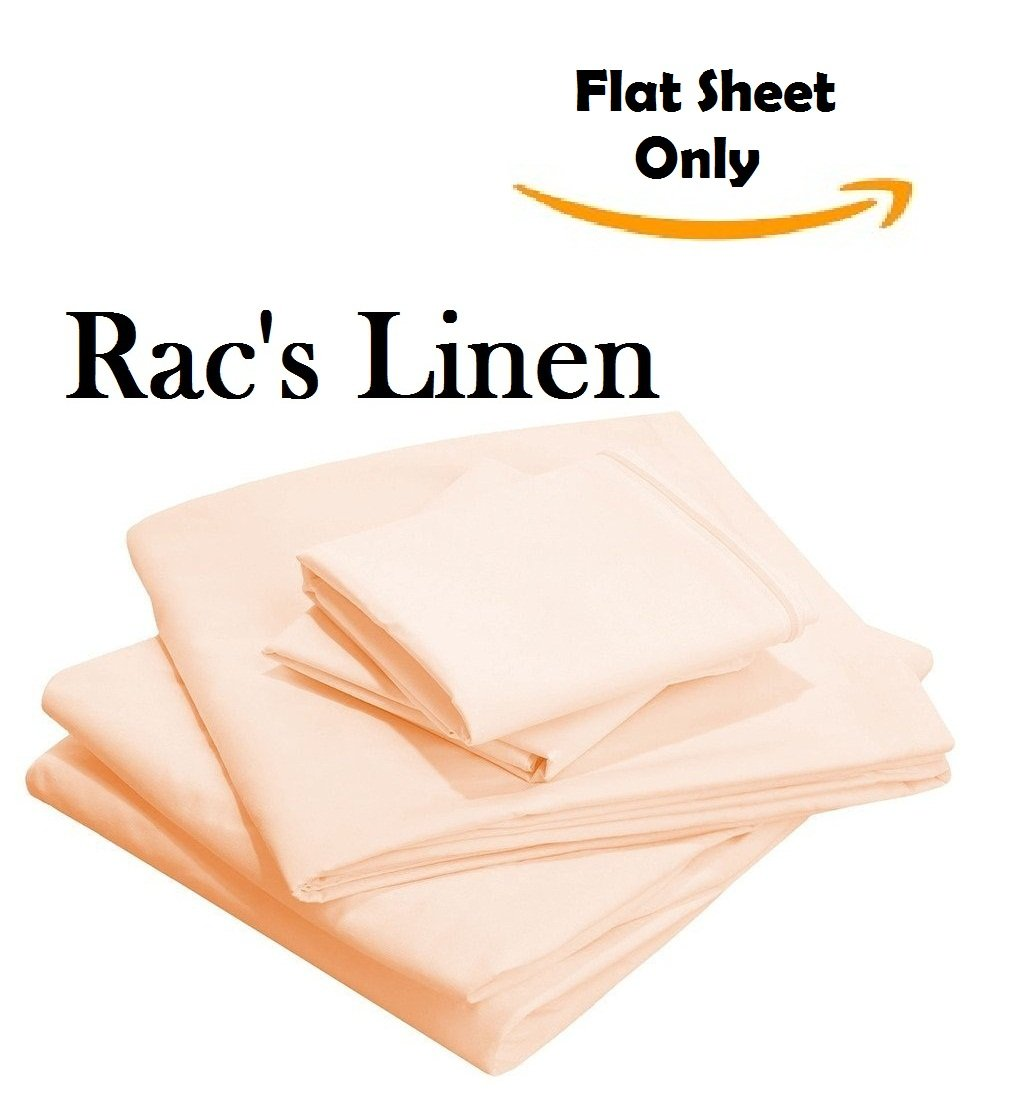 1- Pieces Seaform Flat Sheet - { Top Sheet Only } - Hotel Quality Rac's Linen 500-Thread-Count Egyptian Cotton Cal-King Size Flat Sheet Solid Style Peach Color !! Wholesale Price !!