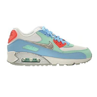 Nike Air Max 90 Leather (GS) Big Kids Shoes White/Metallic Silver-
