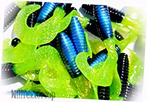 "WillTexxGroup 3"" Twister Tail Fat GRUBS Walleye BASS Lures Black Blue & Chartreuse 25 Pack for Saltwater Freshwater Bass Kayak Ice Fishing"