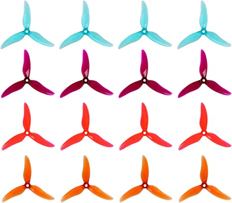 """16pcs GEMFAN 5 Inch Propeller 51499 3-Blades Props CW CCW 5/"""" Tri-blade Propeller Best Match for 210 220 250 FPV Racing Drone Quadcopter Frame Kit Clear Blue, Clear Purple, Clear Red, Clear Whisky"""