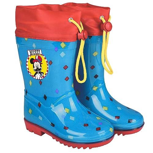 Perletti Disney Micky Maus Regenstiefel für Kinder Blaue Stiefeletten Mickey Mouse Circus Wasserdichte Regen Schnee Stiefel Rutschfeste Sohle