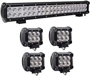 "Lumitek 1X 126W 20"" Led Light Bar Flood Spot Combo Off Road Light Bar with 4X18W CREE Flood LED Pods for Off-road Vehicle, ATV, SUV, UTV, 4WD, Jeep, Boat"