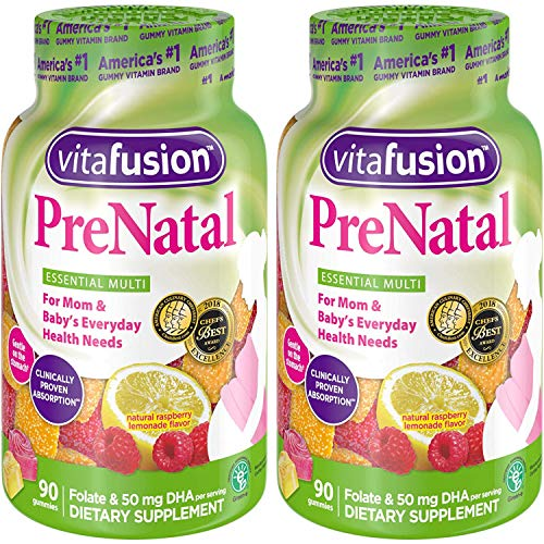 Vitafusion, PreNatal, Adult Gummies, Assorted Flavors – 90 gummies, Pack of 2