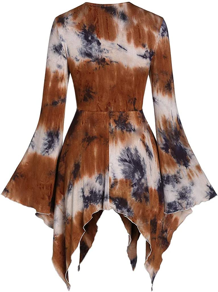 RUIVE Women/'s Halloween Blouse Square Neck Flare Sleeve Tie Dye Print Lace-Up Pullover Gothic Asymmetric Tops