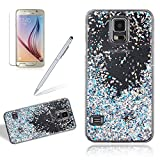 Bling Transparent Hard Case Cover For Samsung Galaxy S5, Girlyard Slim Fit Glitter Shiny Back Cover Silver Leaf Waterfall Hourglass Case Crystal Clear Protection Quicksand Shell [Free Screen Protector], Silver