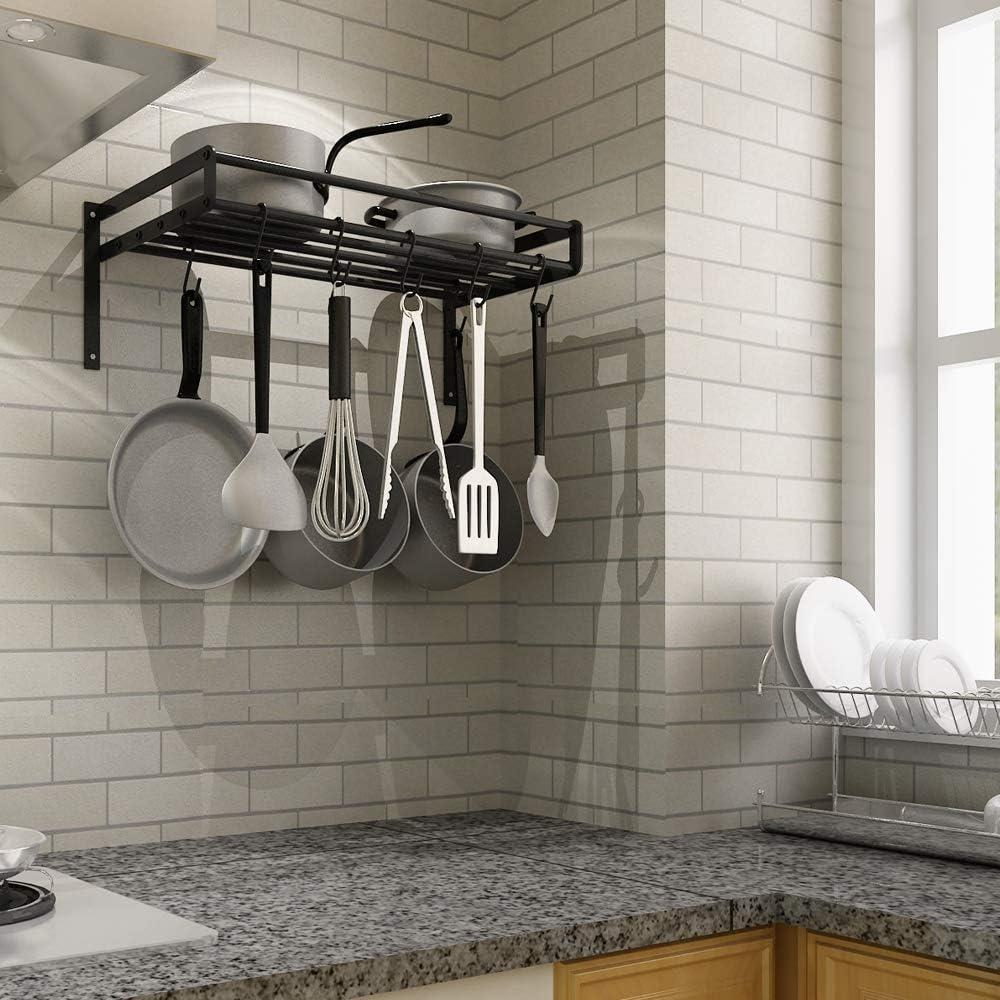 60 x 23 x 24 cm mit 10 S-f/örmigen Haken Metall Home-Neat K/üchenwand-Topf-Regal Schwarz