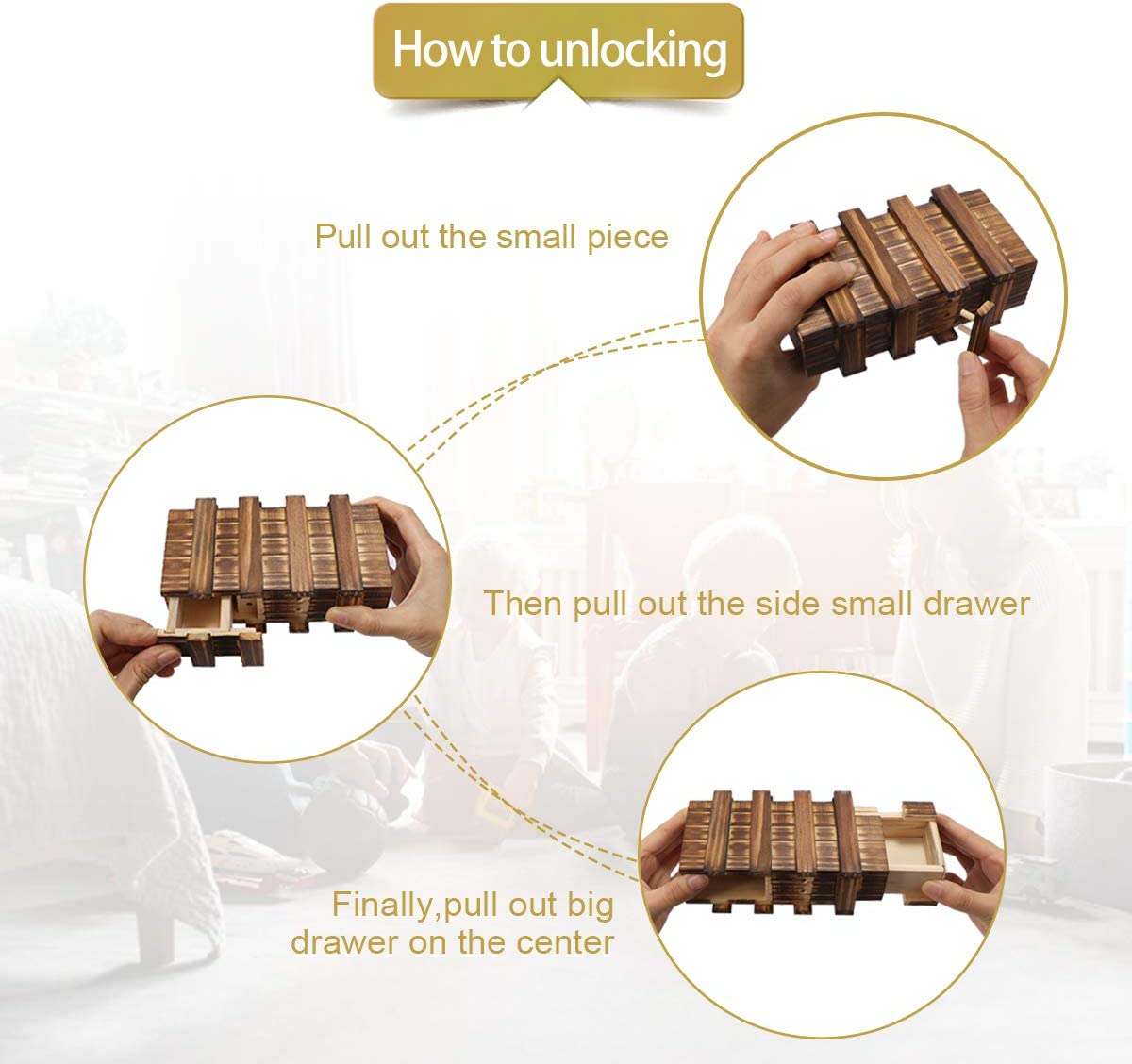 Magic Compartment Wooden Puzzle Box With Secret Drawer Brain Teaser Kids Gift R.