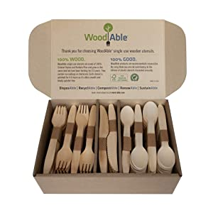 WoodAble - Disposable Wooden Forks, Spoons, Knives Set | Alternative to Plastic Cutlery - Biodegradable Replacements (300 Count - 120 Forks, 120 Spoons, 60 Knives)