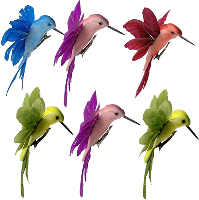 Hummingbird Clip on Ornaments -Assorted Colored Birds with Attached Clip approx 4.5 Inches wide - Craft Birds Set of 6 Humming Birds Decorations on Clips- Great for DIY Wreaths Centerpieces Home Décor