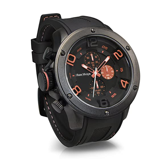 Franco tiempo Gavarnie Chronograph Orange Correa cuarzo reloj Hombre analógica