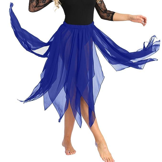 ranrann Asimétrica Falda de Ballet para Mujer Irregular Chifón ...