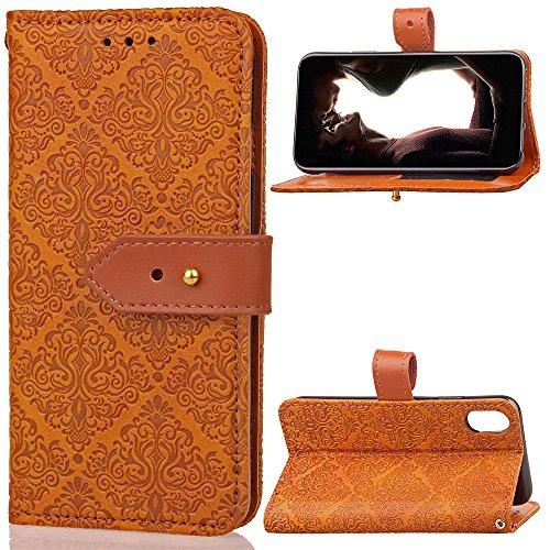 JIALUN-carcasa de telefono Cubierta de cuero de la caja de la bolsa de la carpeta de la PU con la hebilla y el Kickstand del remache del cuero genuino de Geared para IPhone 8 ( Color : Black ) Light brown